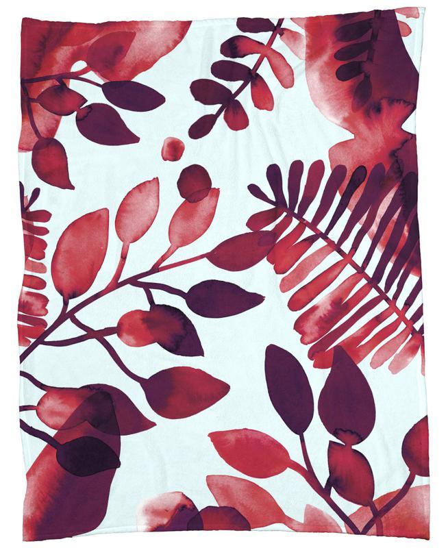 Leaves Red Fleecedecke   Heimtextilien > Decken und Kissen > Mehr-Decken   Mehrfarbig