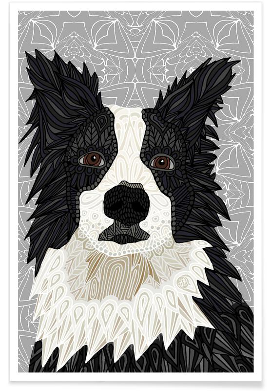 Geometric Border Collie Poster