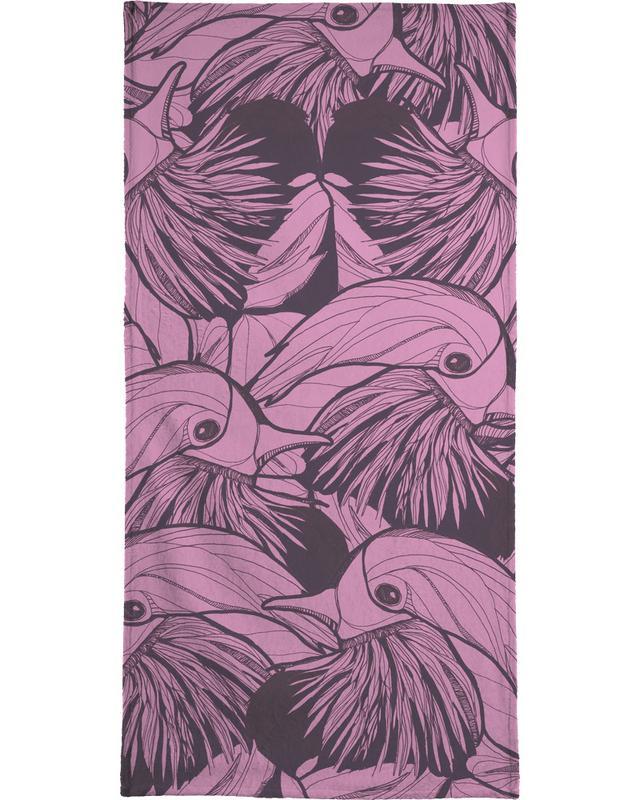 Birds Pink Strandtuch | Bad > Handtücher > Saunatücher | Mehrfarbig