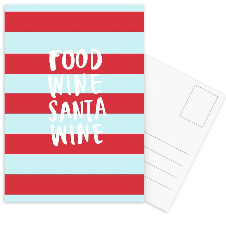 Food, Wine, Santa, Wine Postcard Set