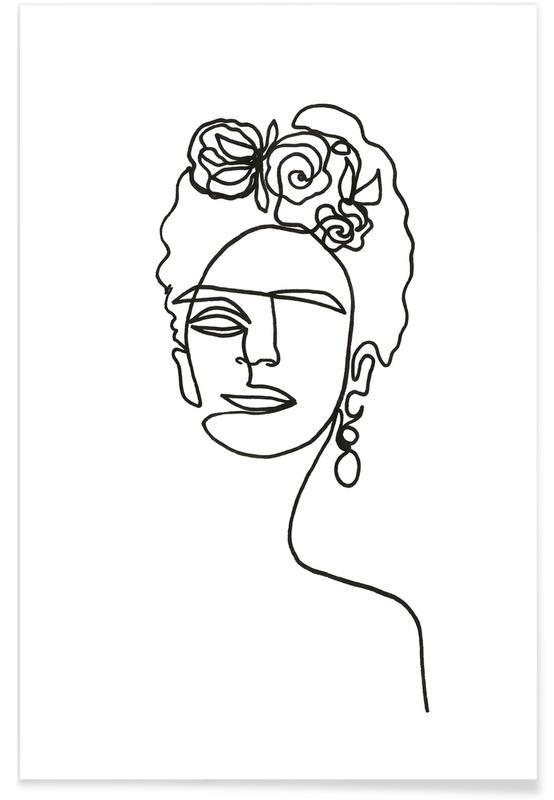 Frida Kahlo Line Drawing Poster
