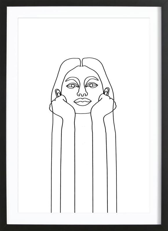 Curious Girl -Bild mit Holzrahmen