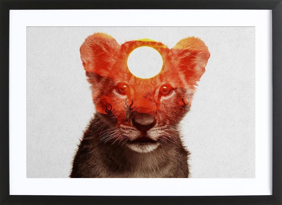 Lion -Bild mit Holzrahmen