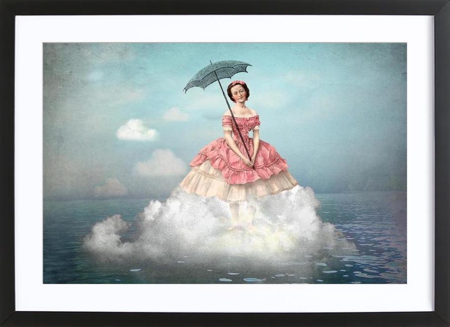 Swimming Cloud -Bild mit Holzrahmen