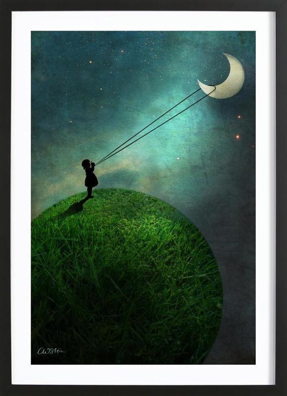 Chasing The Moon -Bild mit Holzrahmen