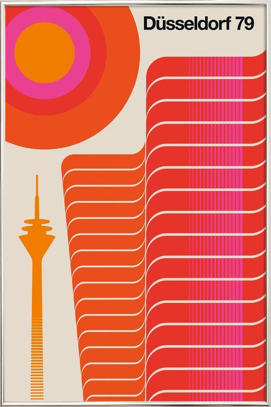 Düsseldorf 79 affiche sous cadre en aluminium