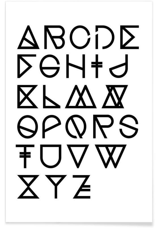 Geometrical ABC - white -Poster