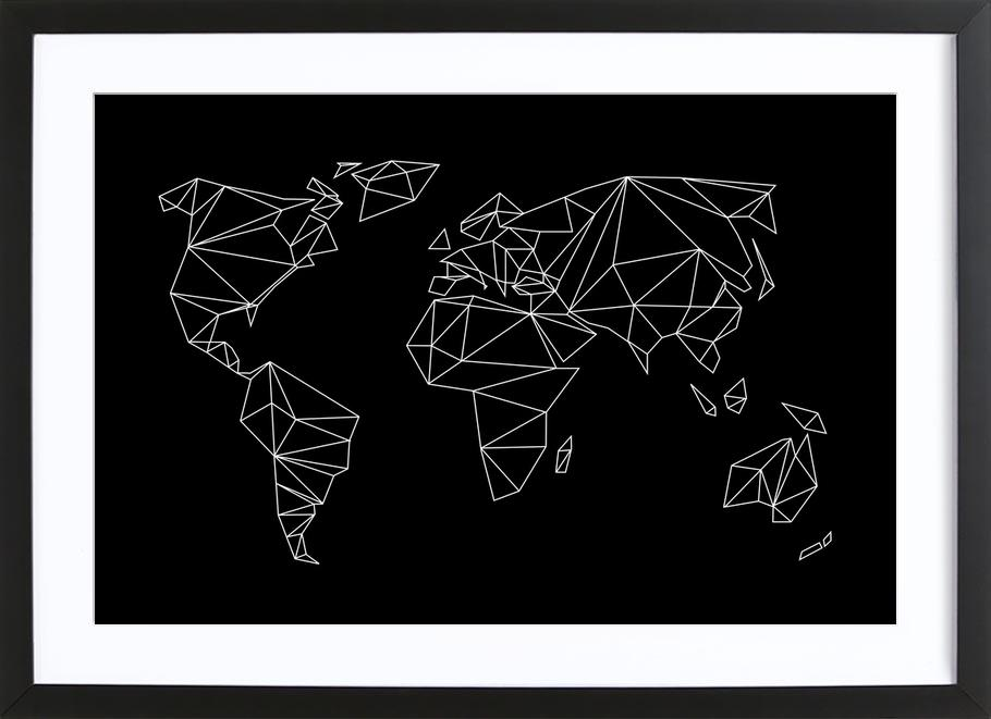 Geometrical World - black -Bild mit Holzrahmen