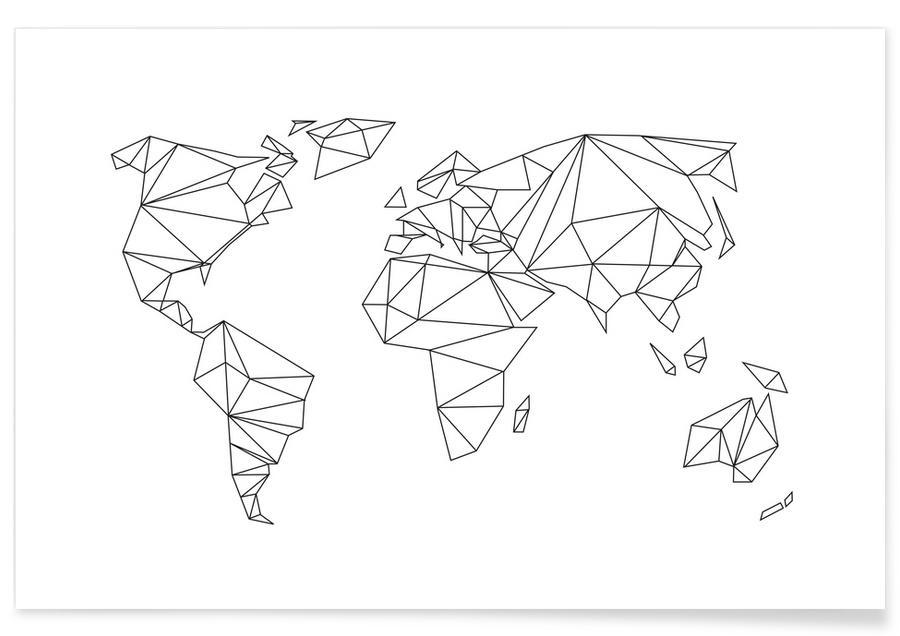 Geometrische wereld - wit poster