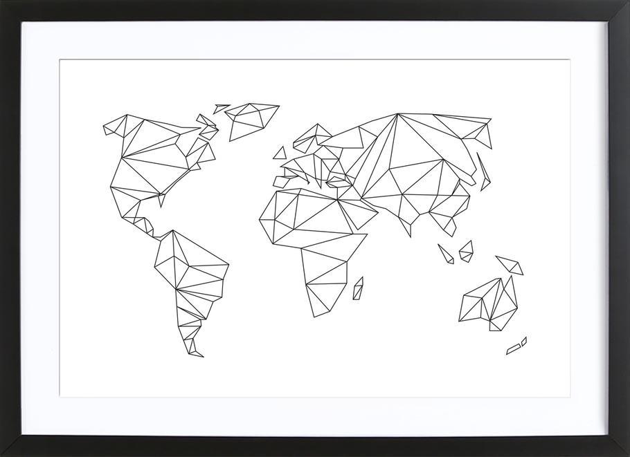 Geometrical World - white -Bild mit Holzrahmen