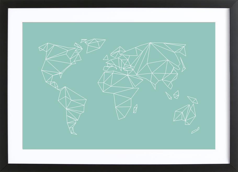 Geometrical World Green -Bild mit Holzrahmen