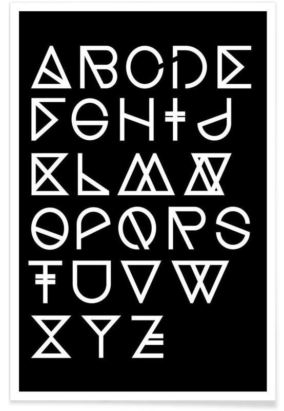 Geometrical ABC - black Poster