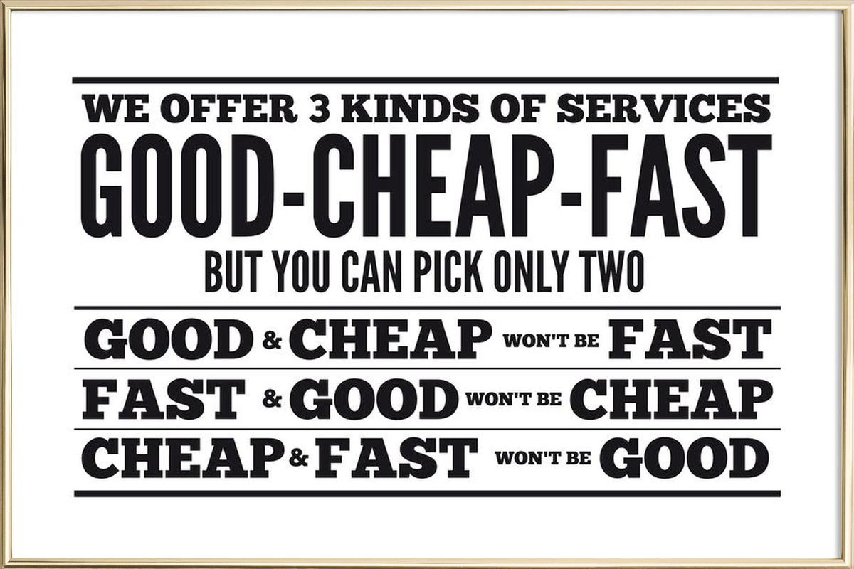 Good Cheap Fast poster in aluminium lijst