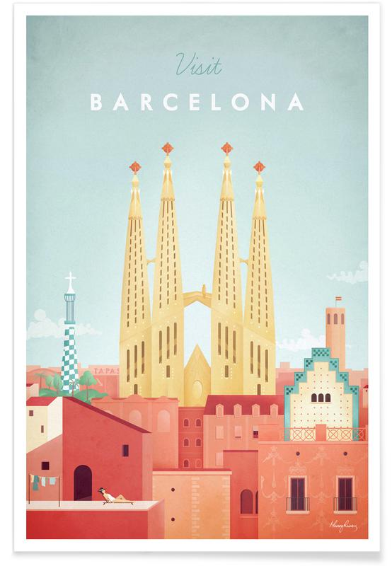 Vintage Barcelona Travel Plakat