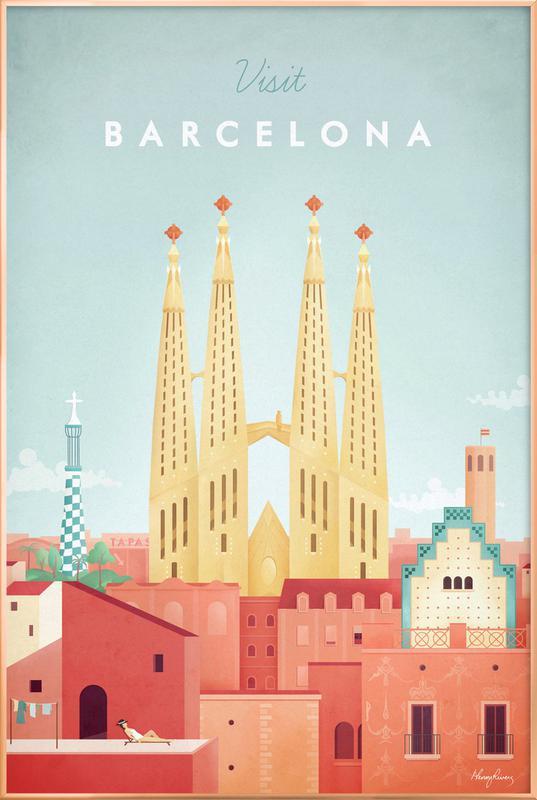 Barcelona -Poster im Alurahmen