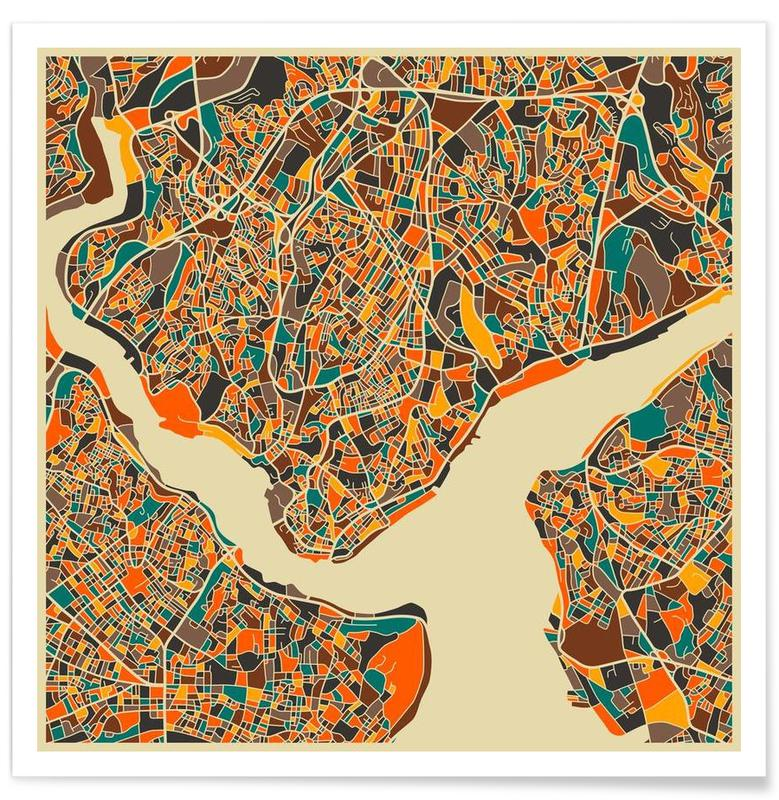 Istanbul Colourful Map Poster