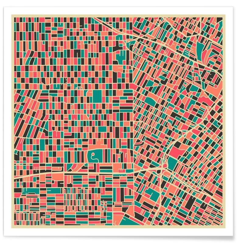 Los Angeles Colourful Map Poster