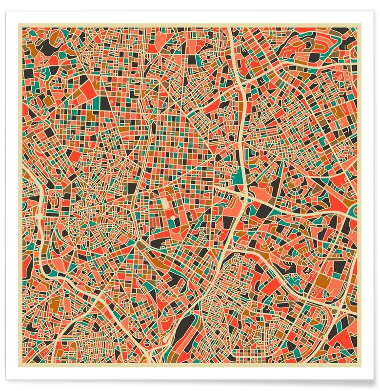 Madrid Colourful Map Poster