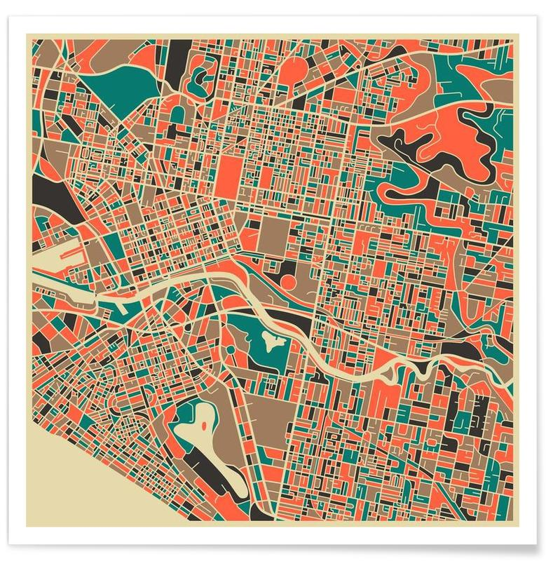 Melbourne - Carte colorée affiche
