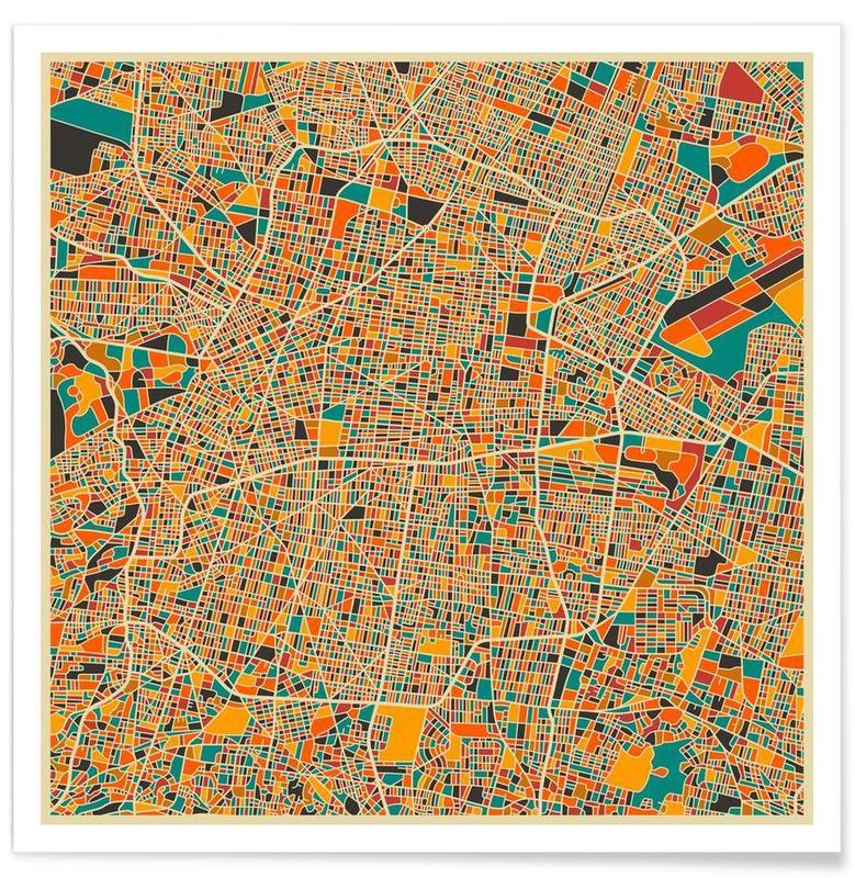 Mexico - kleurrijke kaart poster