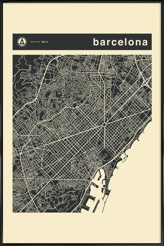 City Maps Series 3 Series 3 - Barcelona Framed Poster