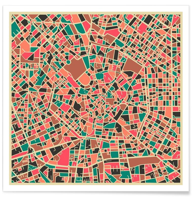 Milan - Carte colorée affiche