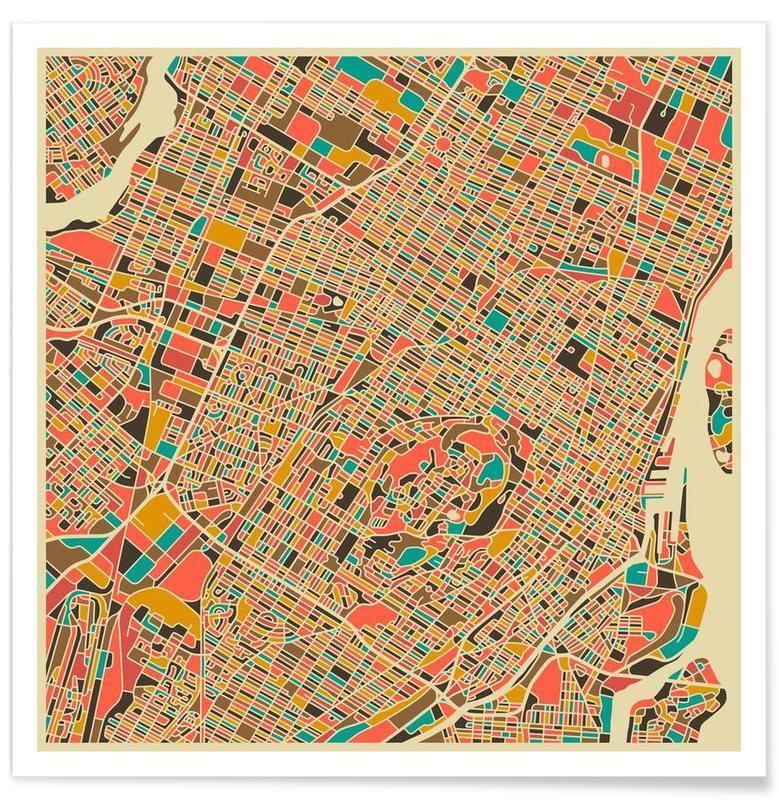 Montréal - Carte colorée affiche