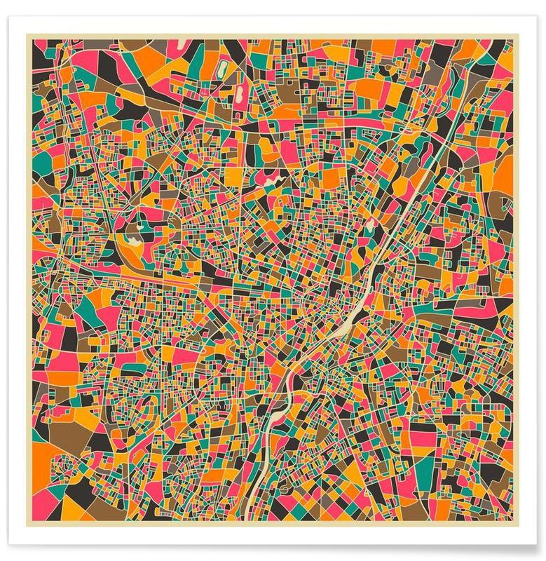 Munich - kleurrijke kaart poster