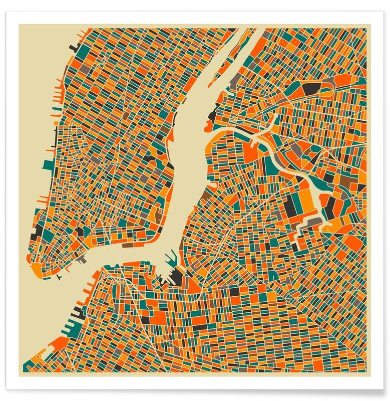 Bunte New York-Stadtkarte -Poster