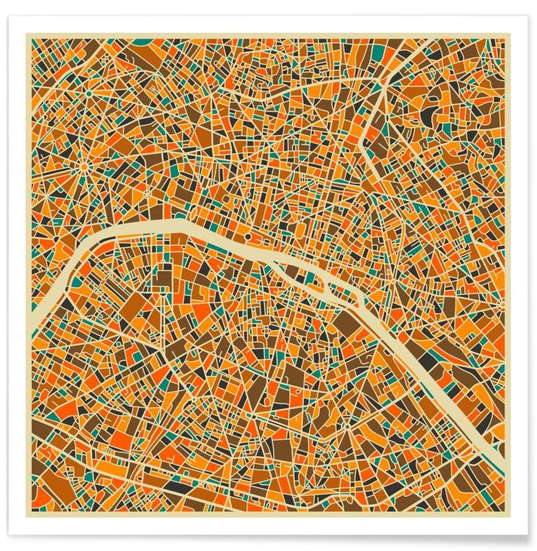 Paris - Carte colorée affiche