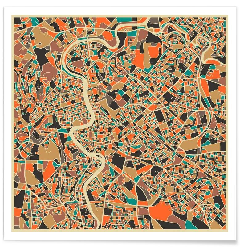 Rome - kleurrijke kaart poster