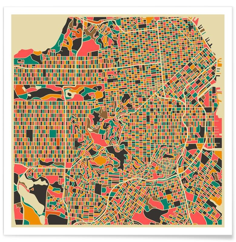 San Francisco Colourful Map Poster