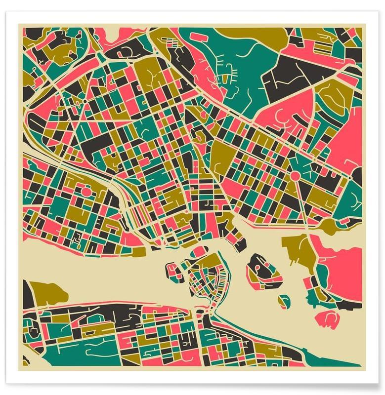 Stockholm - kleurrijke kaart poster