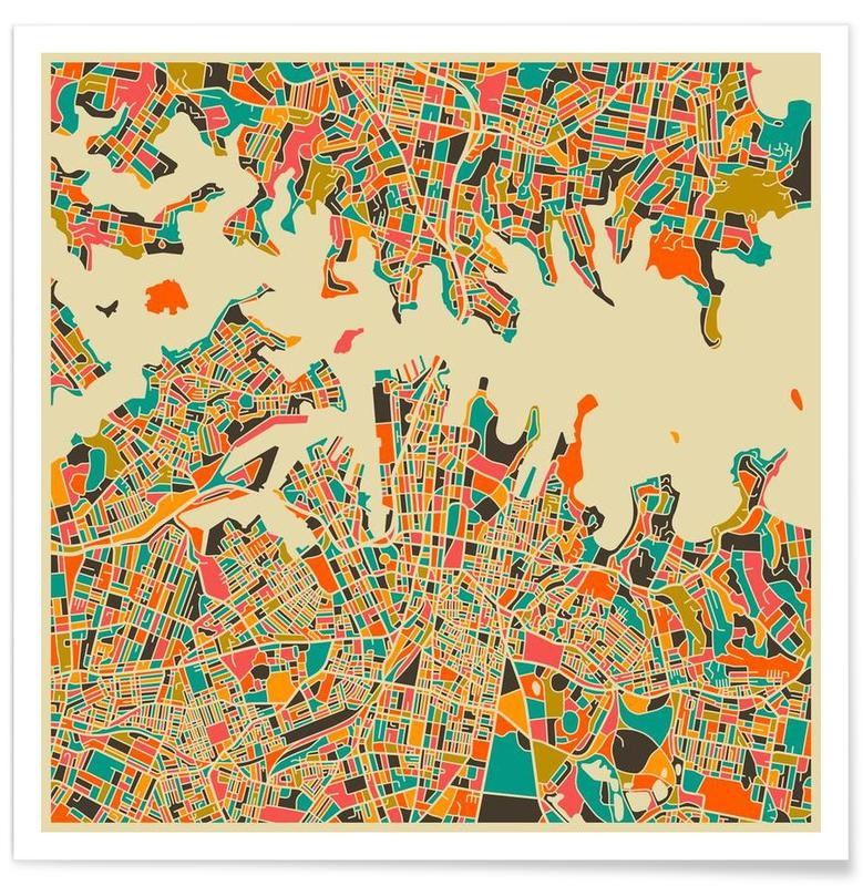 Sydney Colourful Map Poster