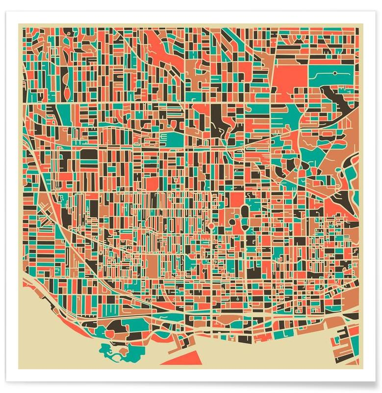 Toronto Colourful Map Poster