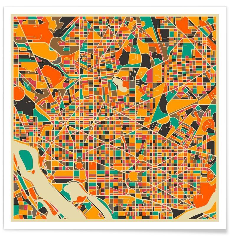 Washington Colourful Map Poster