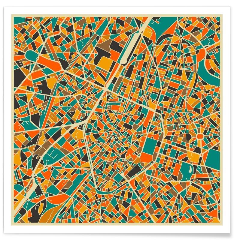 Bruxelles - Carte colorée affiche