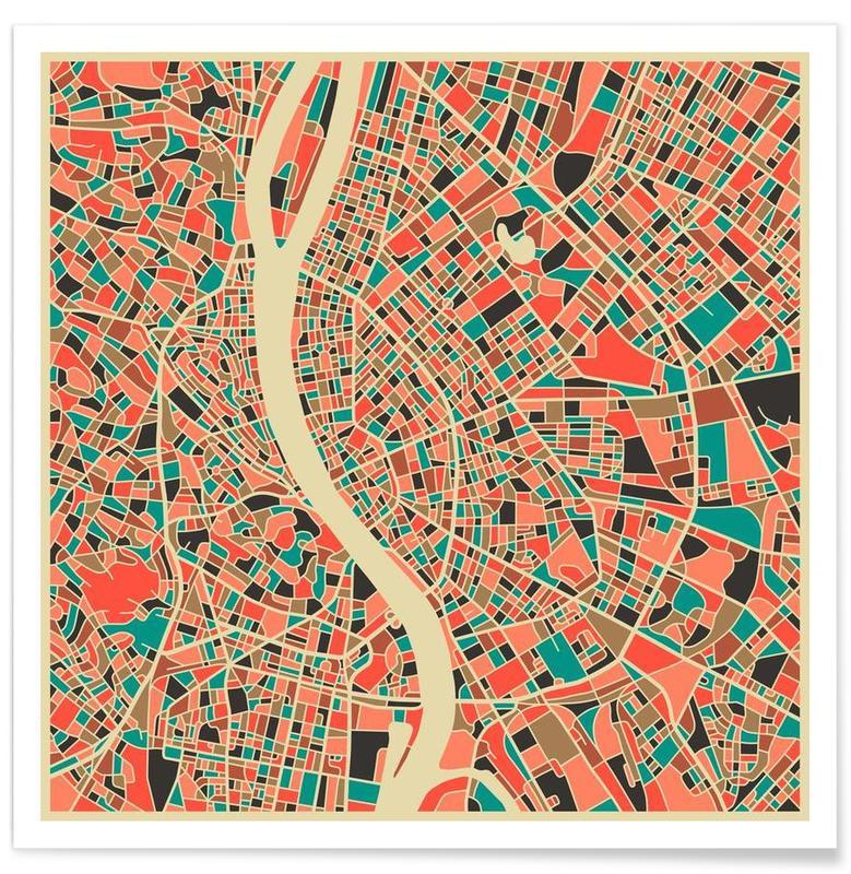 Budapest - Carte colorée affiche
