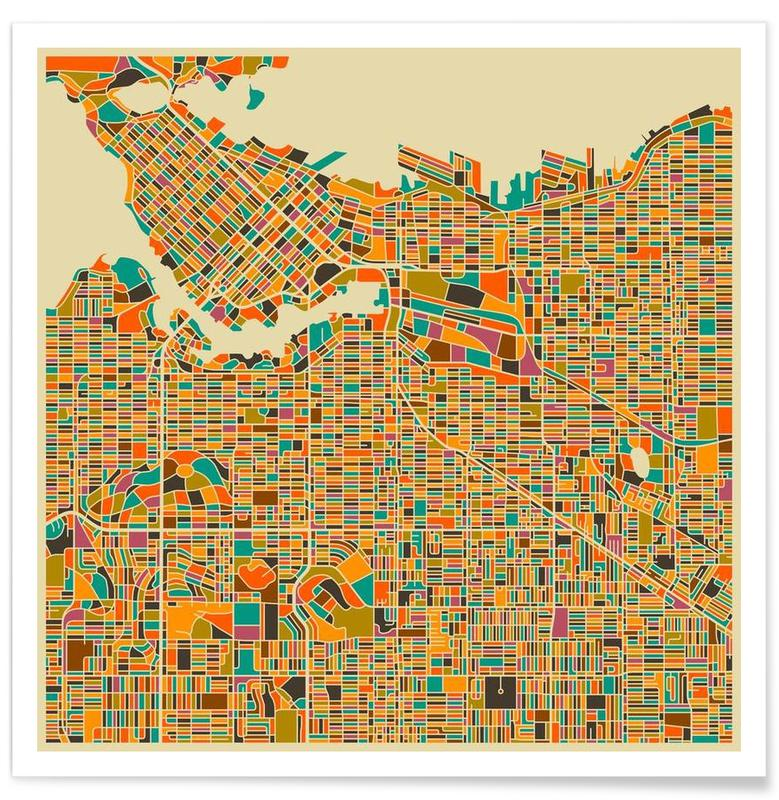 Vancouver Colourful Map Poster