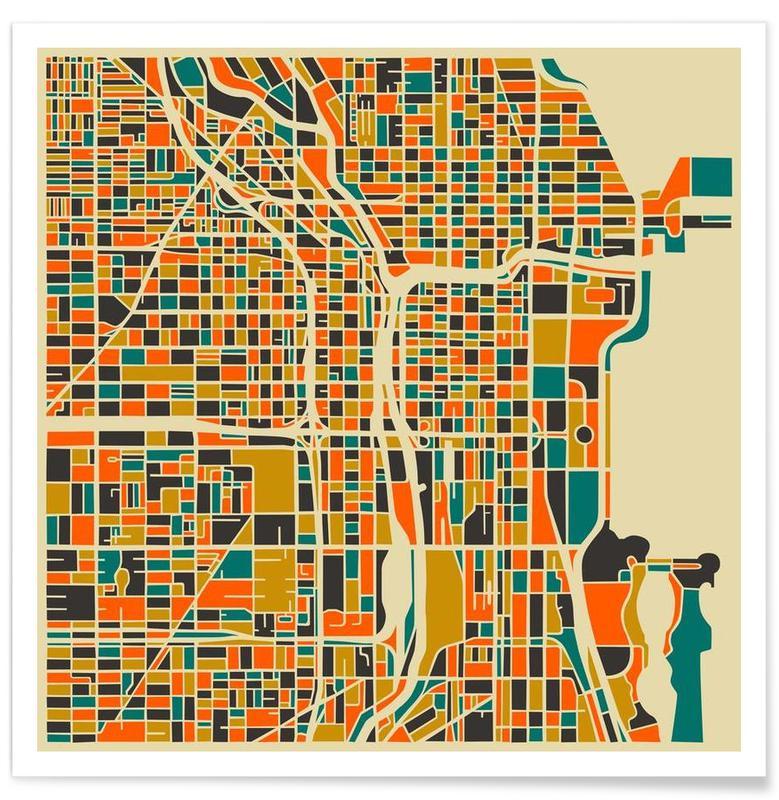 Chicago - kleurrijke kaart poster