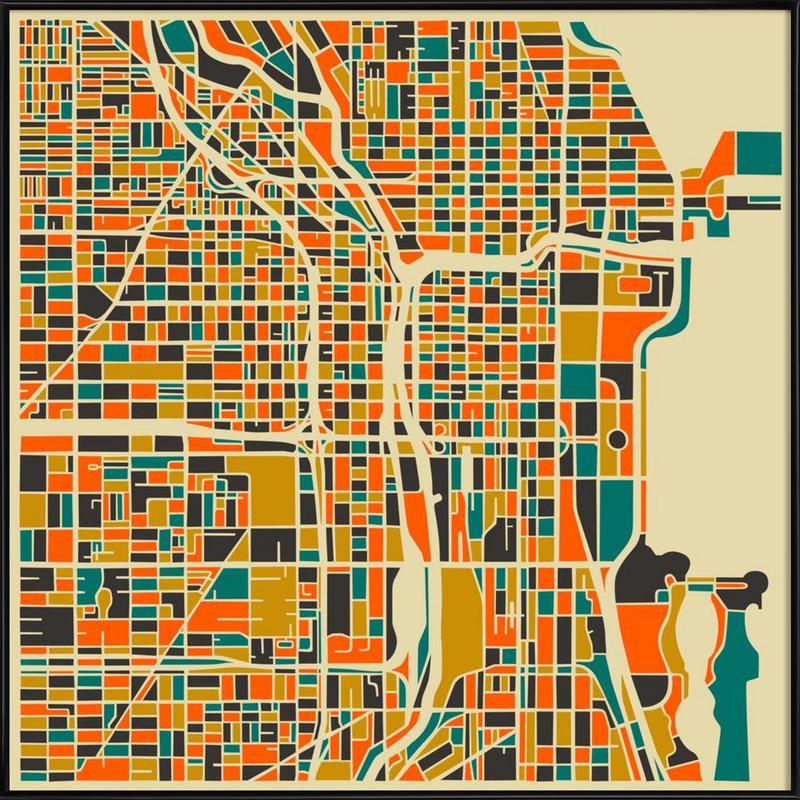 Chicago Gerahmtes Poster | Dekoration > Bilder und Rahmen > Poster | Mehrfarbig