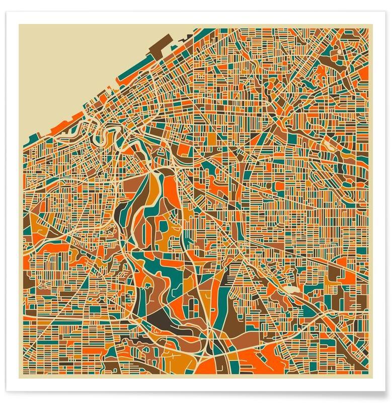 Cleveland - kleurrijke kaart poster