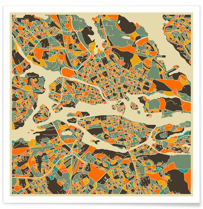 Stockholm Sepia Colourful Map Poster