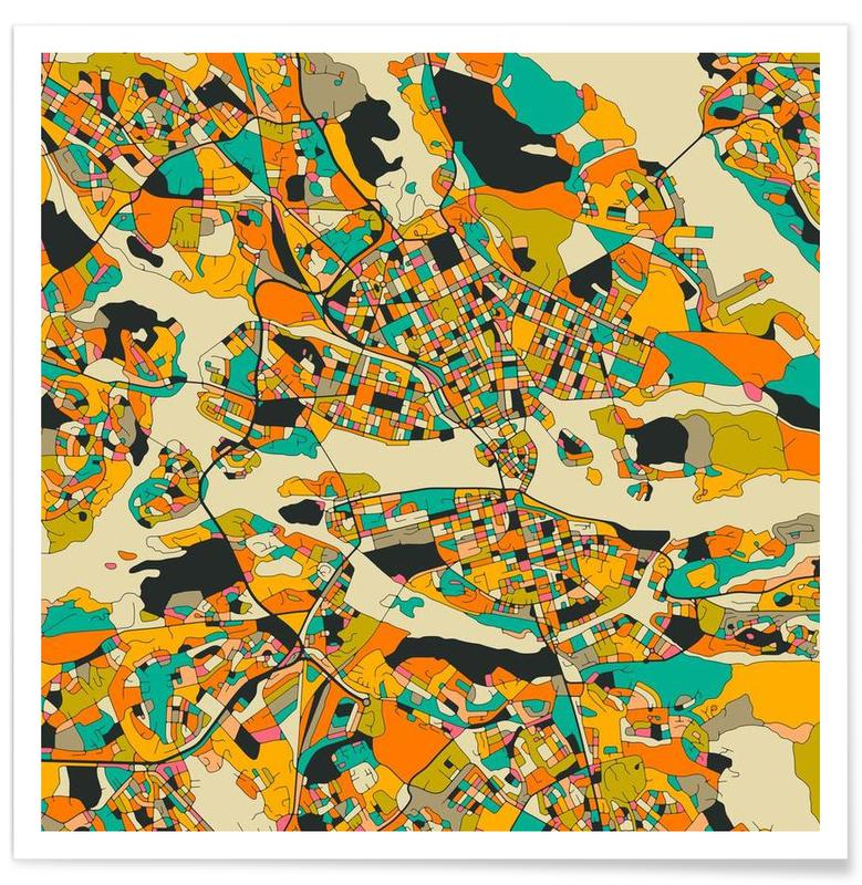 Stockholm Yellow Colourful Map Poster