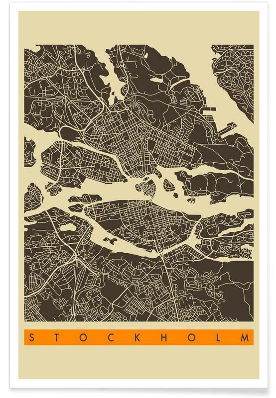 Stockholm Map Series 3 Poster