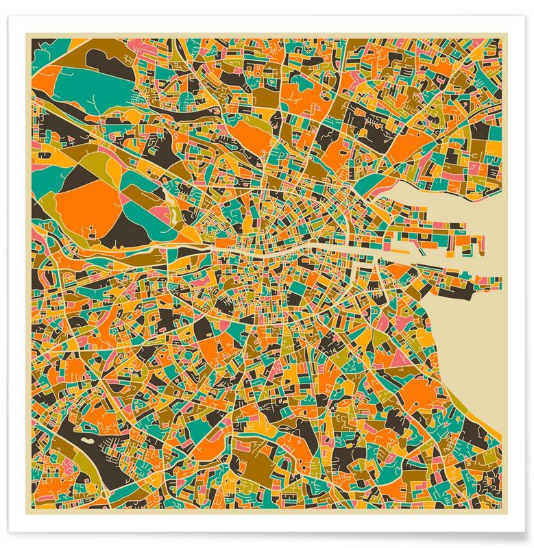 Dublin Sepia Colourful Map Poster