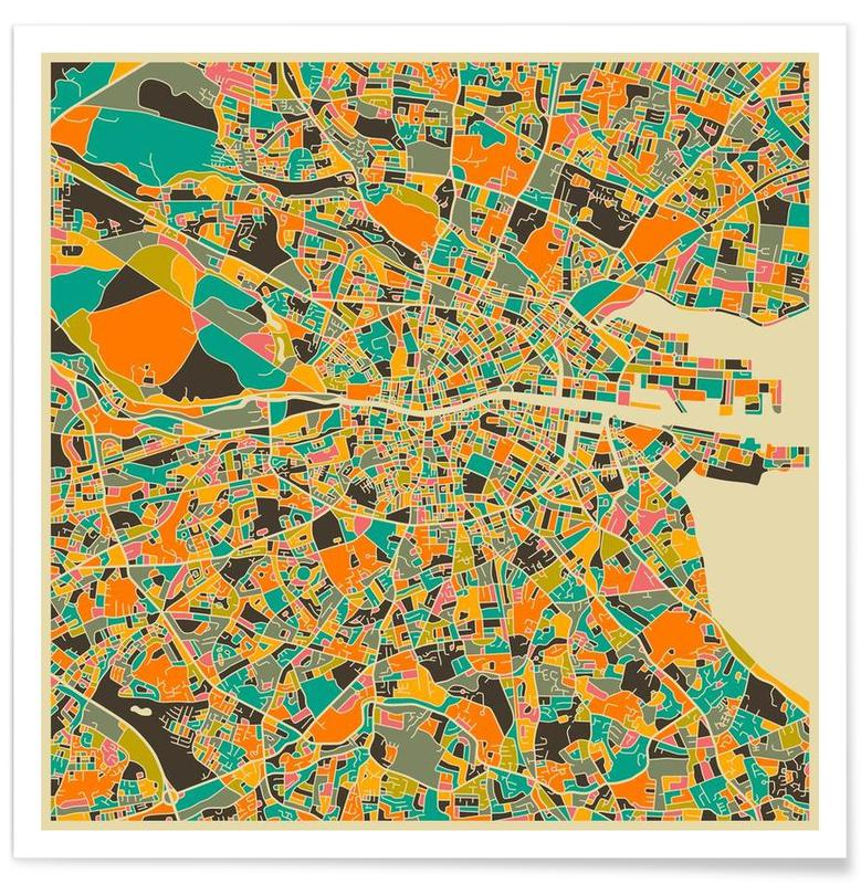 Bunte Grau-Dublin-Stadtkarte -Poster