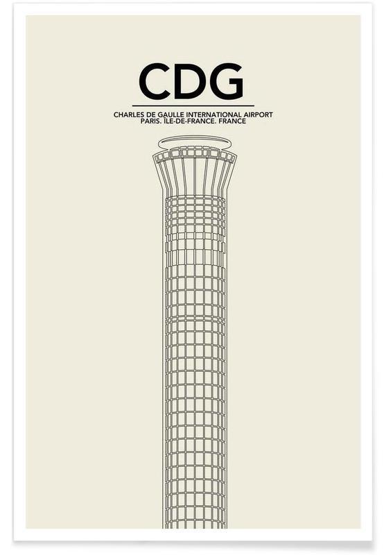 CDG Paris Tower Poster