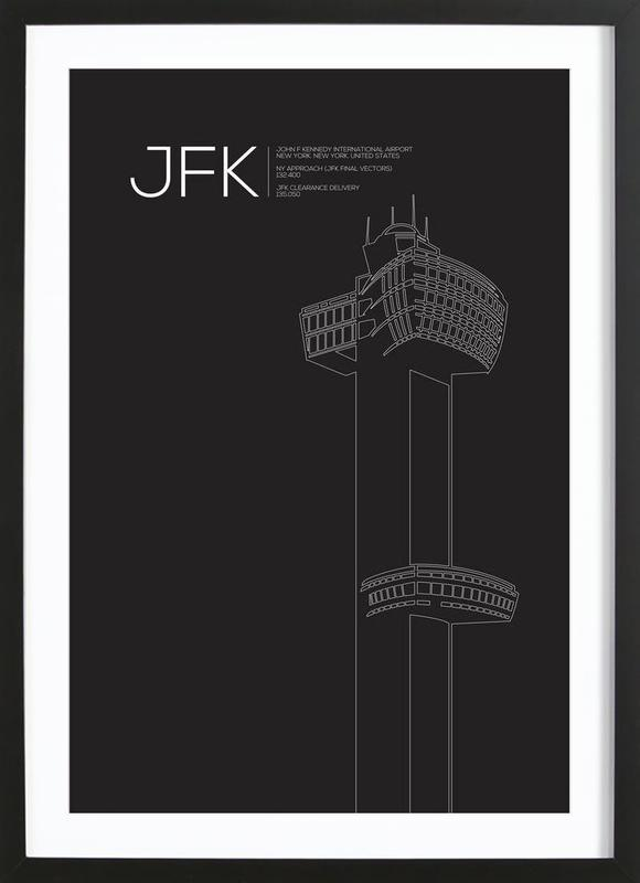 JFK New York Tower Black ingelijste print