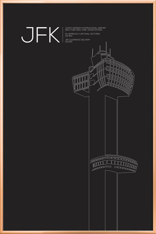 JFK New York Tower Black affiche sous cadre en aluminium